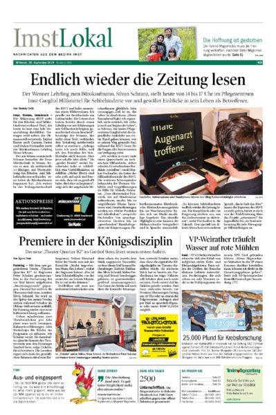 Bericht der T.T. Lokalausgabe BEzirk Imst am 26. September 2018