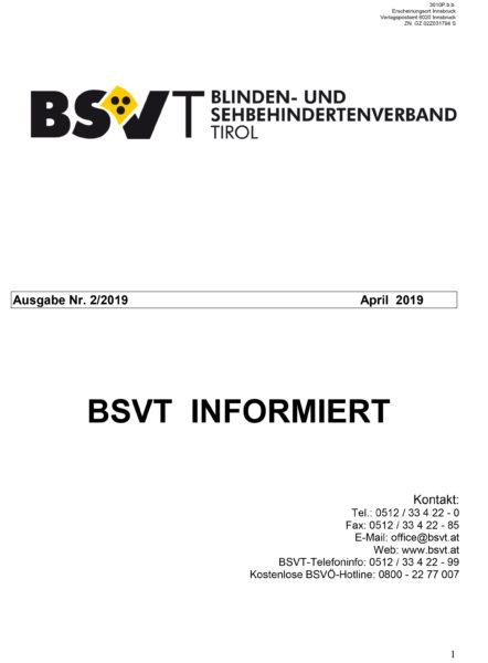 Titelseite BSVT informiert