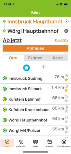 Screenshot Busbahnbim App