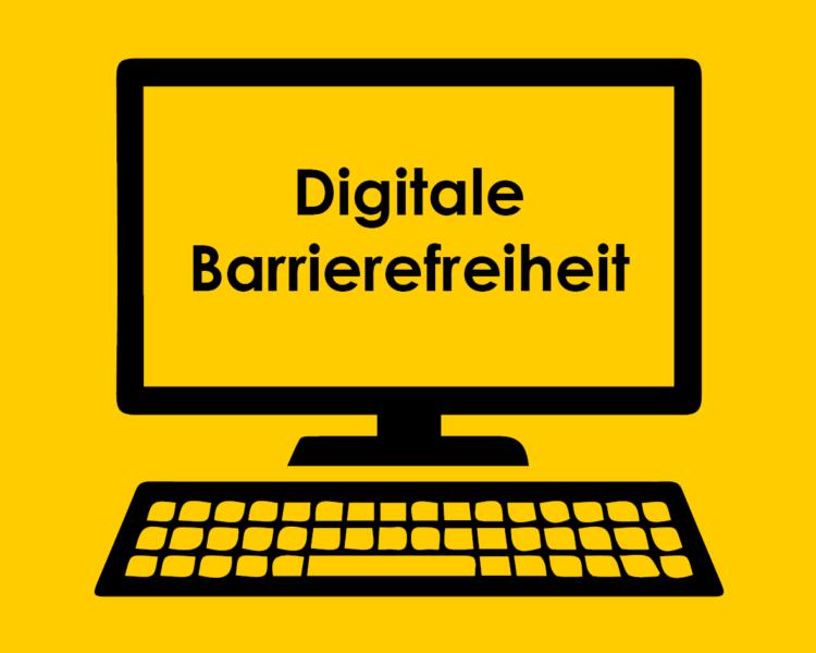 Bildschirm mit Aufschrift digitale Barrierefreiheit