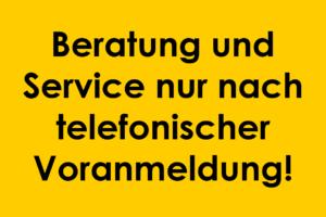 Telefonische Voranmeldung