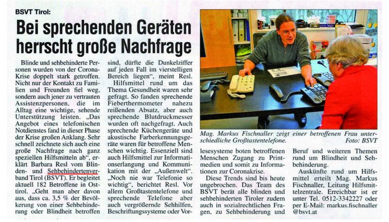 Bild Artikel im Osttiroler Bote